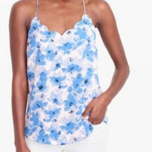 J. CREW Floral Scalloped Cami Tank Top size 6
